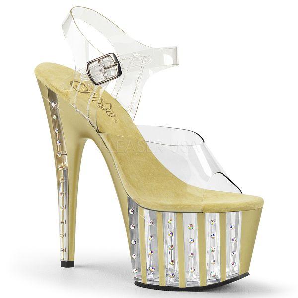 High Heel Sandalette mit strassbesetztem, gold gestreiftem Plateau ADORE-708VLRS